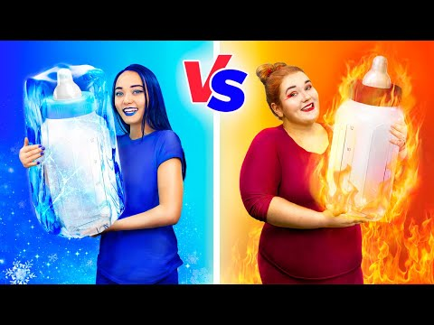 Hot vs Cold Challenge / Mom on Fire vs Icy Mom