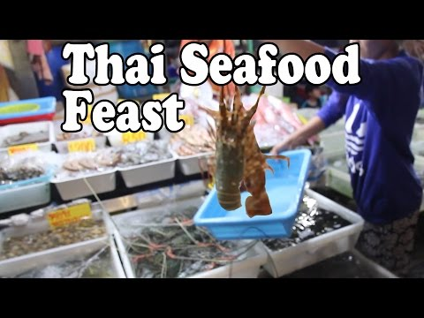 Phuket Seafood: Lobster, Squid, & Shrimp at Rawai Seafood Market in Phuket Thailand. Thai Food