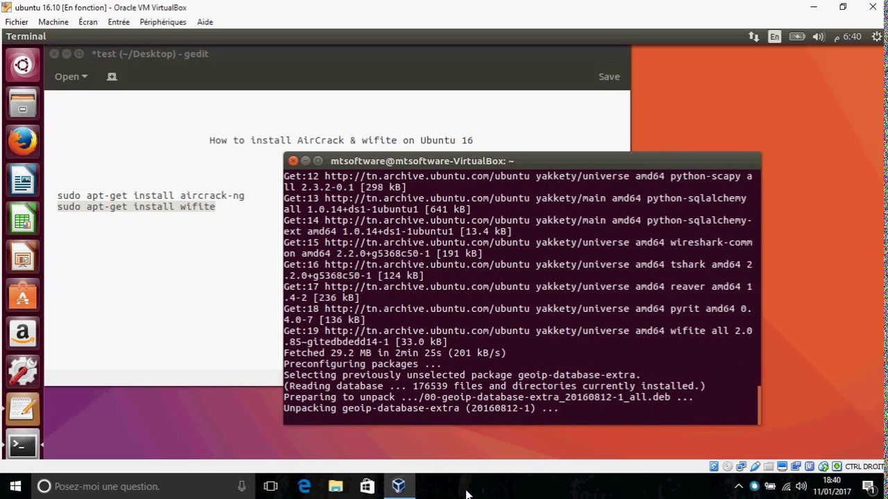 How to install AirCrack and WiFite on Ubuntu 16