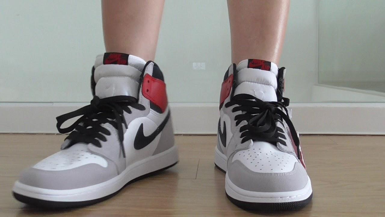Air Jordan 1 Retro High Og Light Smoke Grey On Feet Youtube