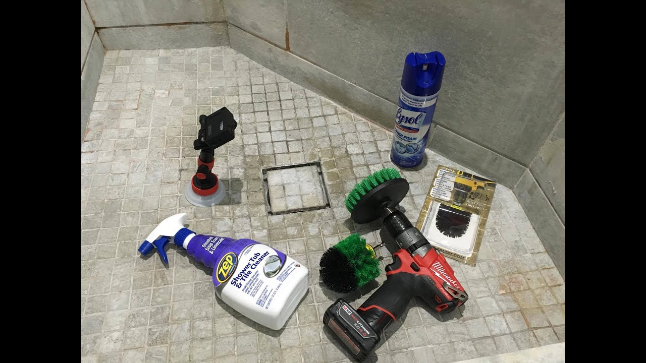 Cleaning Bathroom Shower Tile Tub with a Power Drill Brush YouTube