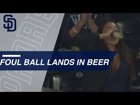 San Diego Girl Chugs Beer After Foul Ball Lands In It