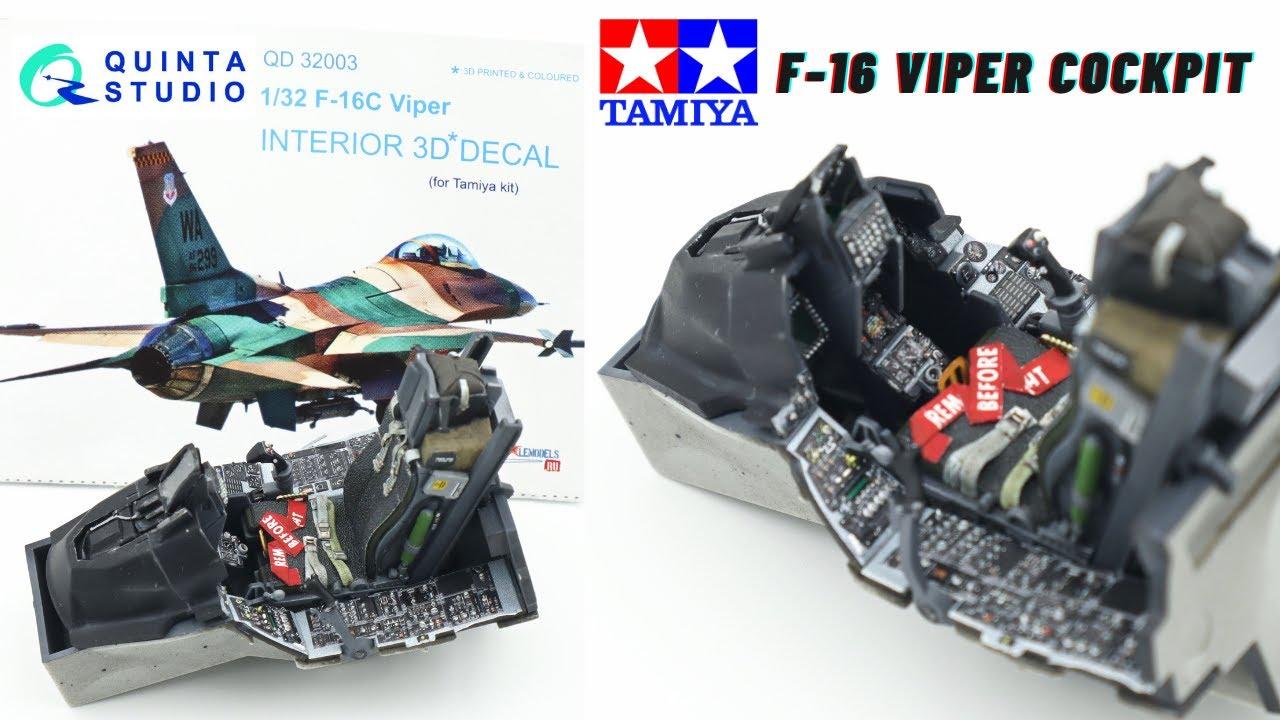 Tamiya 1/32 F-16 Viper cockpit build with Quinta Studios 3d printed decals