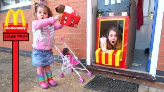 McDonald's Drive Thru Giant Egg Surprise in Happy Meal Box Pretend Play for Kids