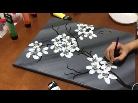 Black And White Canvas Painting Wall Decor Easy Youtube