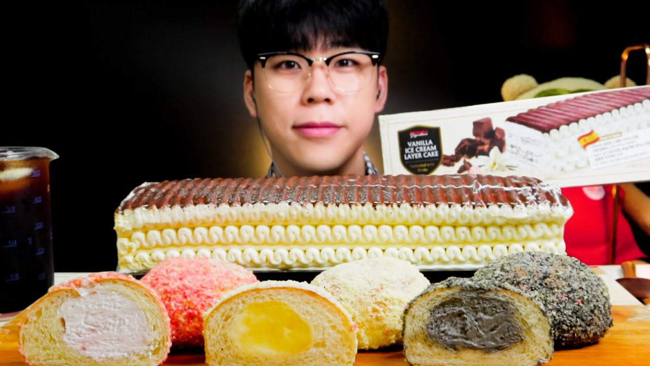 ASMR 홈플러스 바닐라 아이스크림 케이크 크림빵 먹방 디저트 CHOCOLATE VANILLA ICE CREAM CAKE MUKBANG DESSERT バニラアイスクリーム