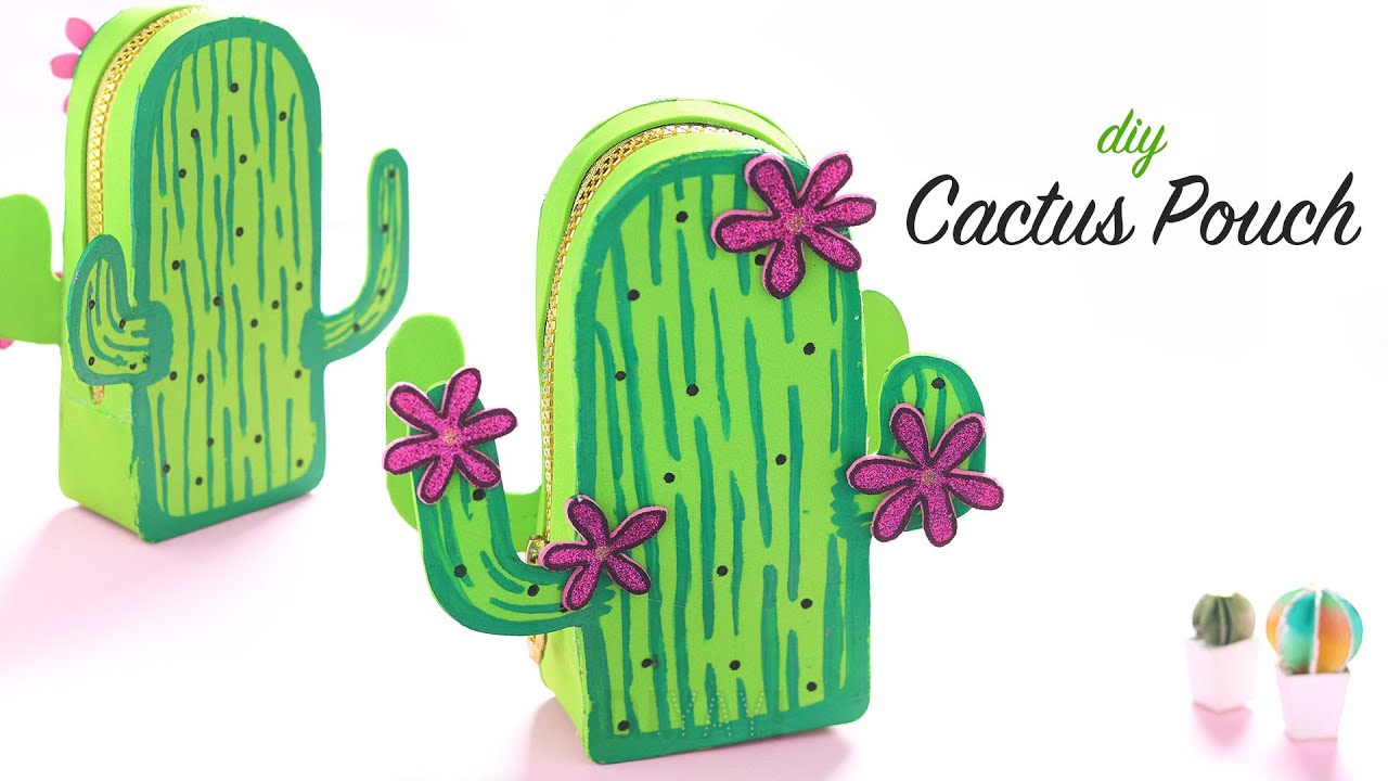 DIY Cute Cactus Pouch | DIY Purse | Gift Ideas | Gift Pouch