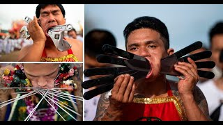 Extreme piercings at a vegetarian festival in Thailand