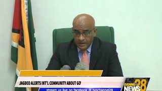 JAGDEO ALERTS INT'L COMMUNITY ABOUT GOVT'S DEFIANCE OF CCJ RULING new