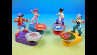 2002 BEYBLADE SPIN CHAMPS SET OF 4 BURGER KING KIDS MEAL TOYS VIDEO REVIEW