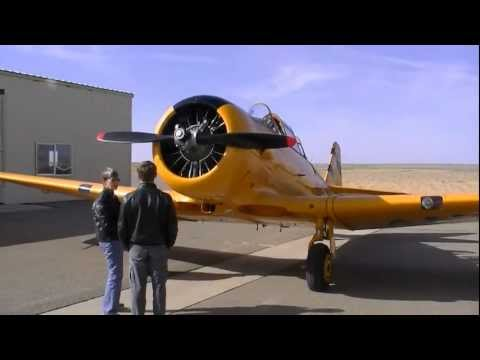Preflight inspection and start-up of Julie Smith's T-6 Texan