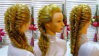 Прическа с плетением на средние и длинные волосы  Braid hairstyle