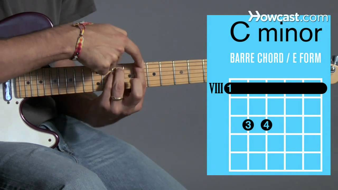 How To Play A C Minor Barre Chord Guitar Lessons Youtube
