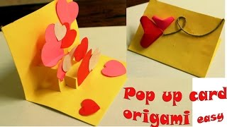 Membuat origami i love you pop up card tutorial