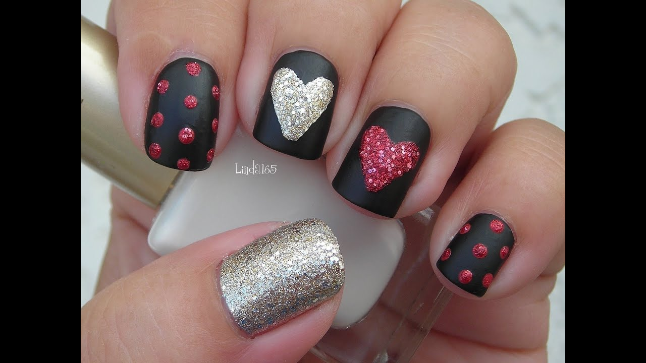 Valentineu0027s Day Nail Art   Sparkly Hearts On Black Matte   YouTube