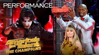 OMG! Miki Dark THROWS KNIVES At Heidi Klum While Blindfolded! - America's Got Talent: The Champions