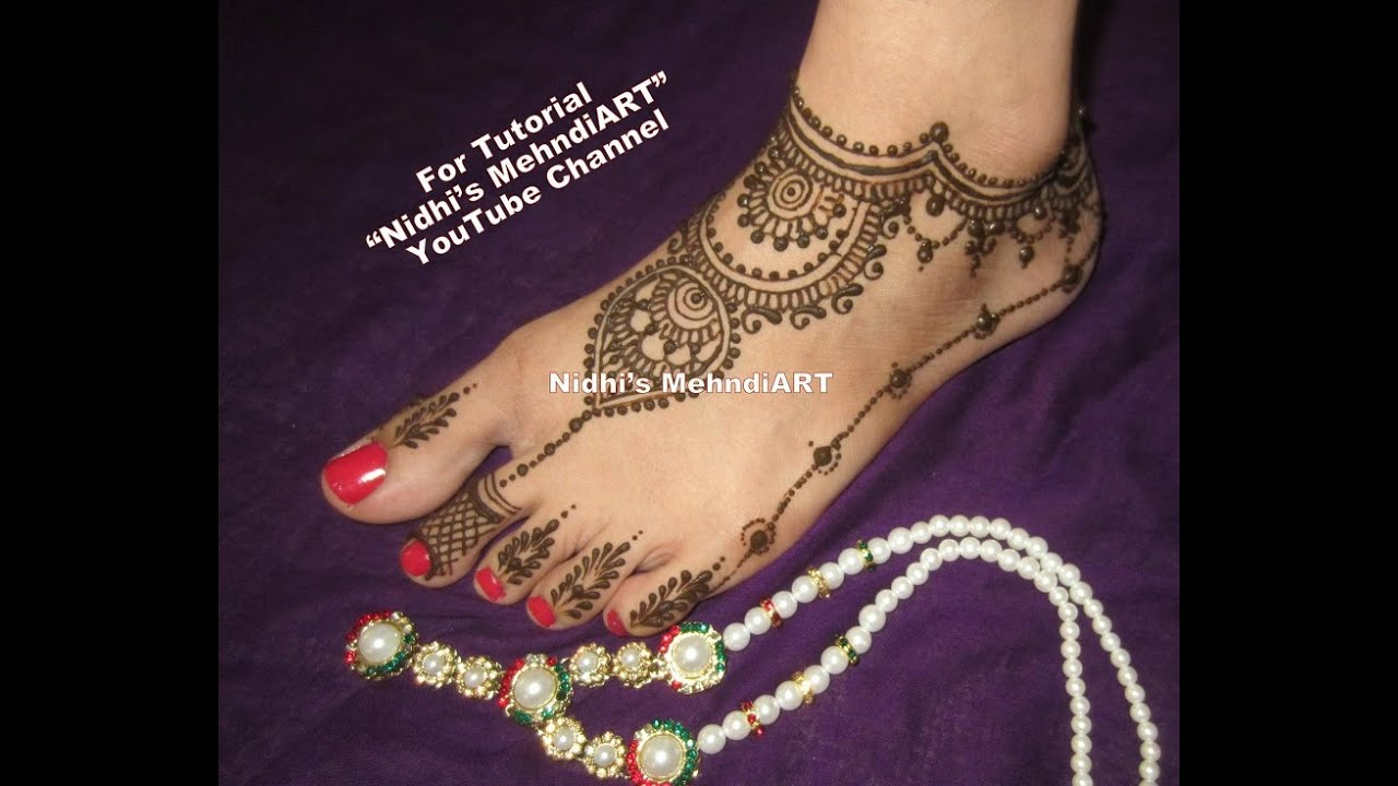 Mehndi Art Step By Step : Attractive ornamental feet henna mehndi design tutorial step by