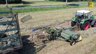 Heuernte in Farbe - Youngtimer Fendt Farmer 308 & Presse John Deere 224T - Deutz D25 & Sternschwader