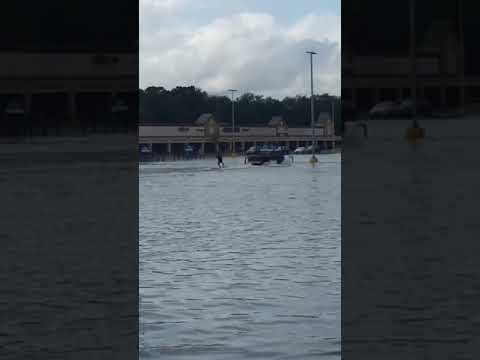 Flooded N.J. parking lot turns into water skiing lake