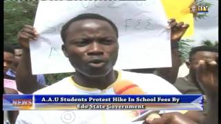 AAU students protest hike in school fes by EDSG