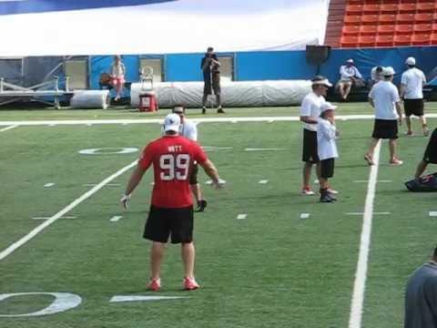 Houston Texans J.J. Watt throwing the football at the Pro Bowl 2013