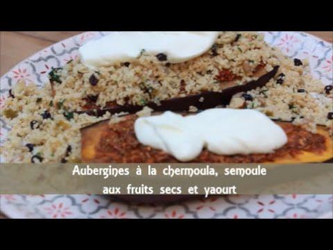 aubergine-à-la-chermoula,-semoule-aux-fruits-secs-et-yaourts