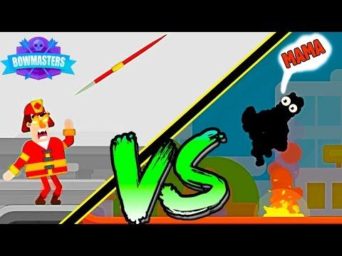Веселое видео про БИТВУ мульт героев САМЫЙ ТЯЖЕЛЫЙ ТУРНИР игра с мультяшной графикой Bowmasters