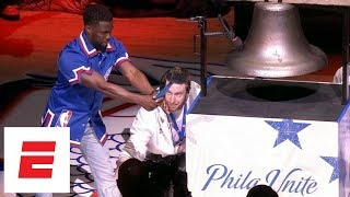 Kevin Hart rings the bell before Game 2 of 76ers vs. Heat | ESPN