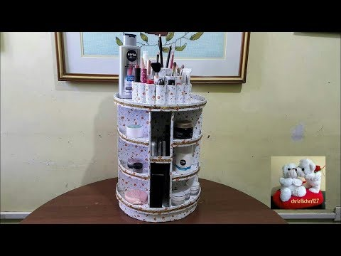 DIY# 89 Rotating Cosmetic/Makeup Organizer With My Own Idea Rotating Base Without Stick