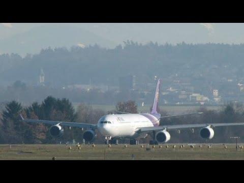 Thai ไทยแอร์เวย์ A340-600 winter take-off @ ZRH - 08/12/2013