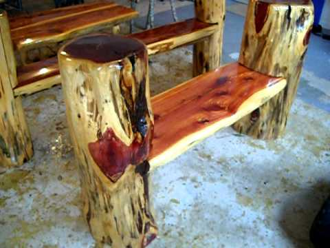 Rustic log benches making frontier furniture in backyard youtube - How to make rustic wood furniture ...