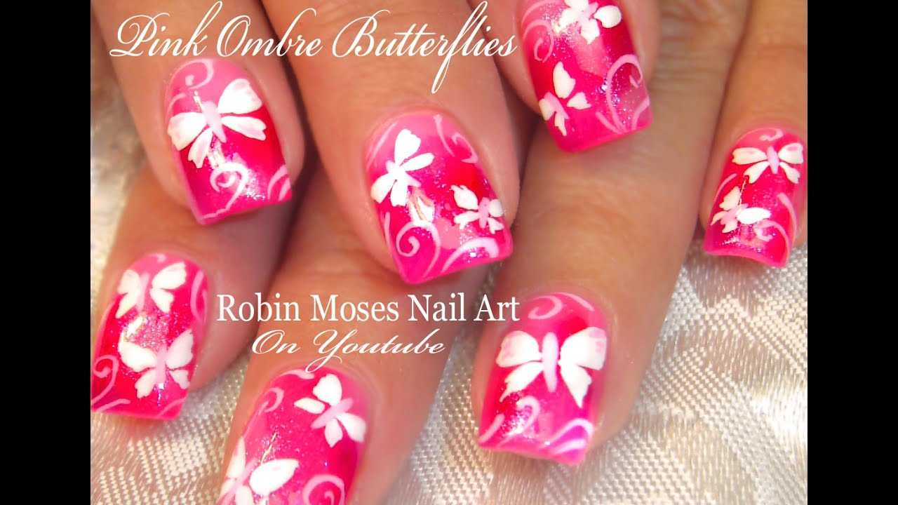 Cute Neon Pink Butterfly Nails White Butterfles Nail Art Design