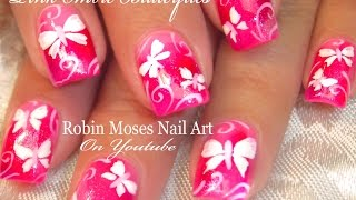 Cute Neon Pink Butterfly Nails | White Butterfles Nail Art Design Tutorial
