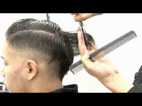Visagismo - corte de cabelo masculino estilizado com máquina e tesoura