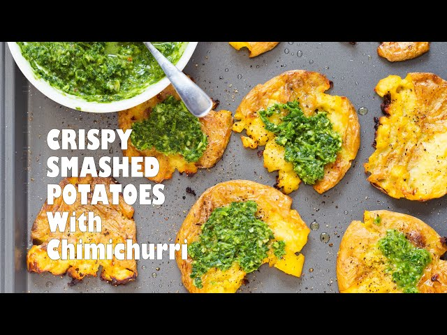 CRISPY VEGAN SMASHED POTATOES WITH CHIMICHURRI | Vegan Richa Recipes
