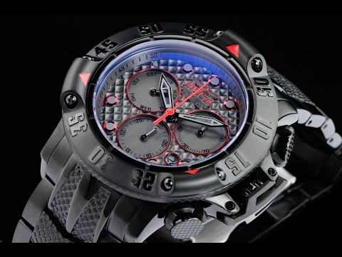 Invicta 23809 50mm Subaqua Poseidon Black IP Swiss Quartz Chronograph Bracelet Watch