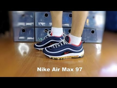 online store 7bf99 67d9f Nike Air Max 97 Midnight Navy Habanero Red - On Feet
