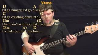 Make You Feel My Love - Bass Guitar Cover Lesson in D with Chords/Lyrics