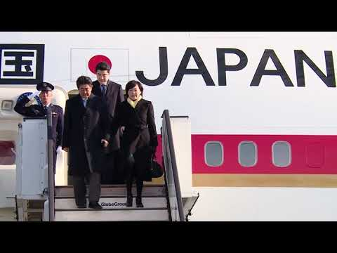 Japanese PM Shinzo Abe makes first official visit to Romania