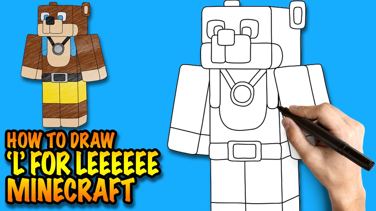 How To Draw Minecraft L For Leeeeee  Easy Stepbystep Drawing Lessons For  Kids