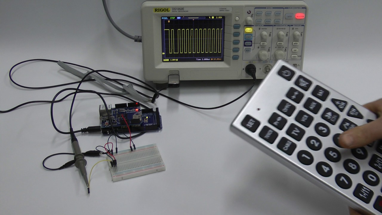 Iso Osi Layer 1 Rc 5 Remote Control Signal On Oscilloscope Youtube Ir Rc5 Transmitter