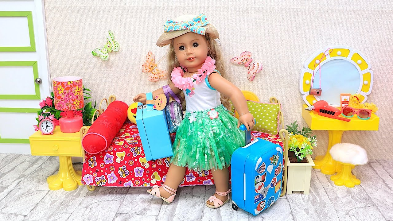 AG Doll packing travel bags for summer vacation trip to Hawaii