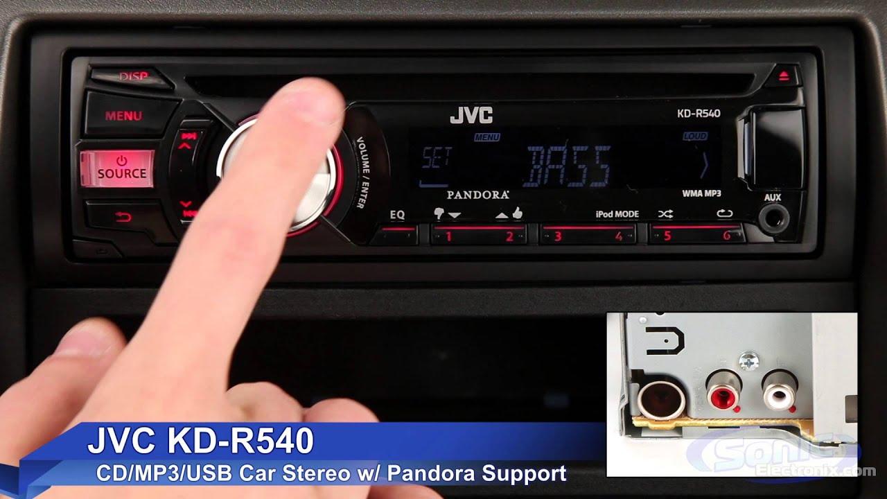 jvc kd r540 car stereo ipod iphone ready w pandora support [ 1280 x 720 Pixel ]