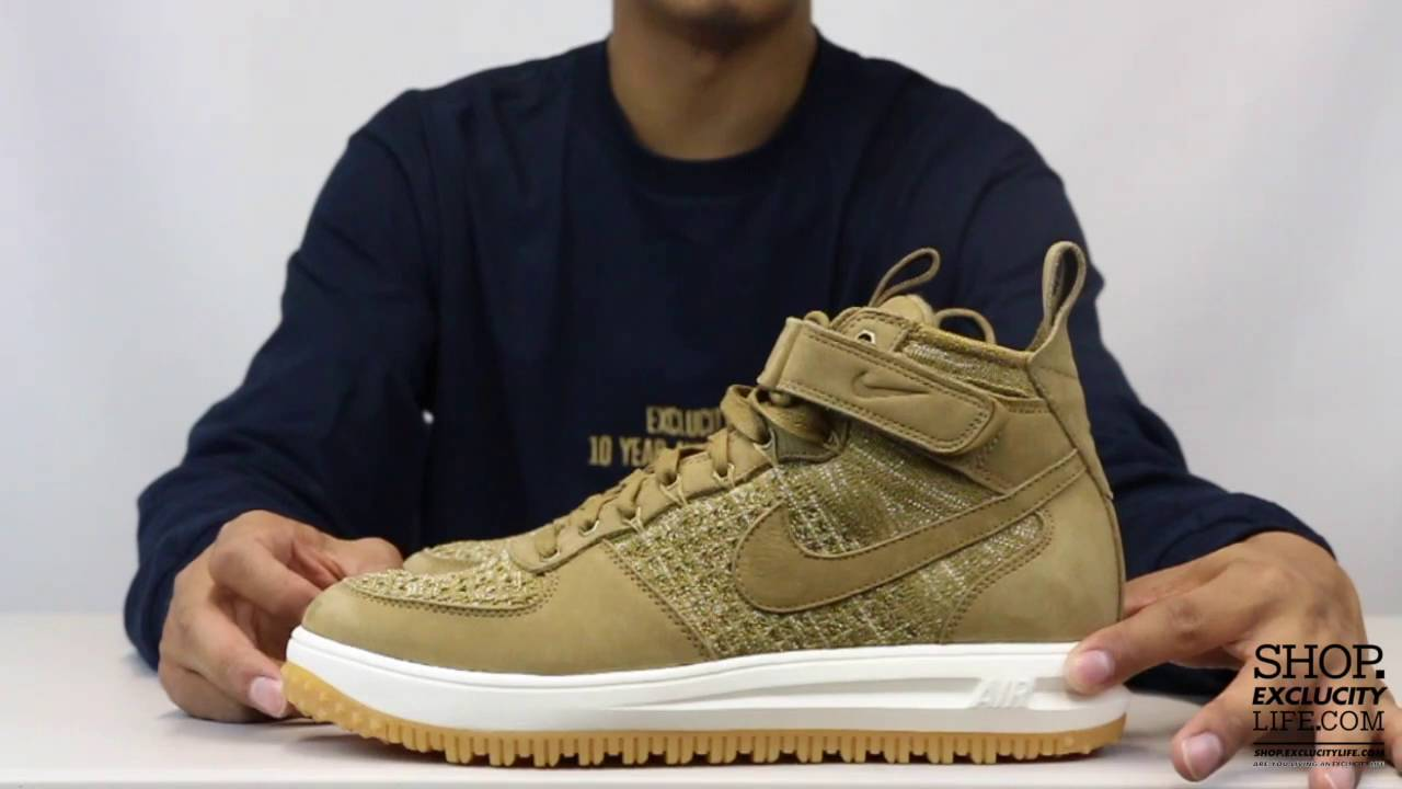 best service 9ad7f 21da7 Nike Lunar Force 1 Flyknit Golden Beige Unboxing Video at Exclucity