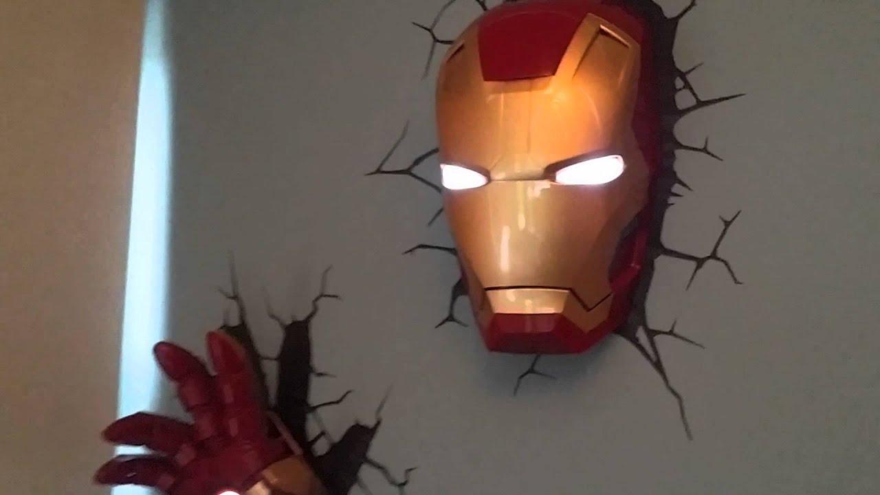 Iron Man 3D Deco Light Helmet and Hand On Wall - YouTube