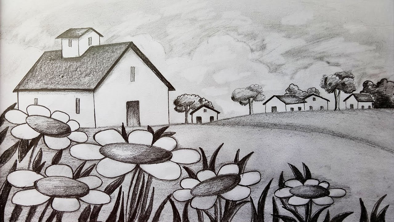 How to draw Scenery / Landscape by pencil sketch.Step by ...