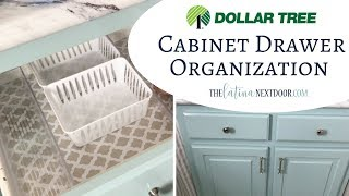 Dollar Tree Cabinet Organization; DIY and Decor Challenge