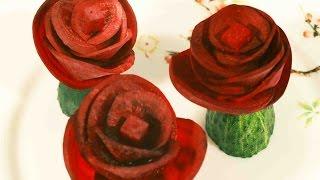Украшение из овощей. Карвинг для начинающих. Украшение блюд из свеклы.(Продолжаем мастерить украшения из овощей. Украшение блюд на праздничный стол из свеклы безусловно станет..., 2015-07-08T06:26:55.000Z)
