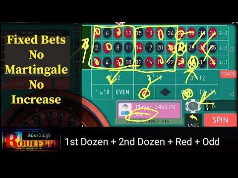 1st Dozen + 2nd Dozen + Red + Odd ( Static BETS, No Martingale ROULETTE Strategy)