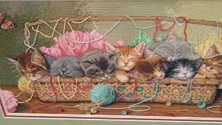 Вышивка котята в корзинке